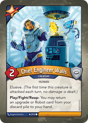Chief Engineer Walls, a KeyForge card illustrated by Ângelo Bortolini