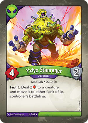 Yxlyx Stimrager, a KeyForge card illustrated by Eric Kenji Aoyagi