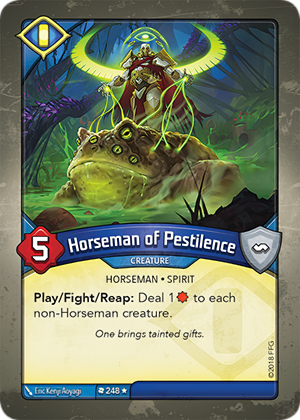 Horseman of Pestilence, a KeyForge card illustrated by Eric Kenji Aoyagi