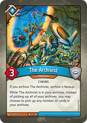 The Archivist, a KeyForge card illustrated by Dany Orizio