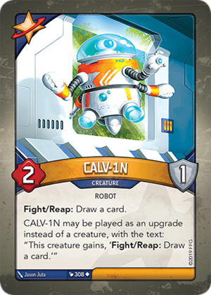 CALV-1N, a KeyForge card illustrated by Jason Juta