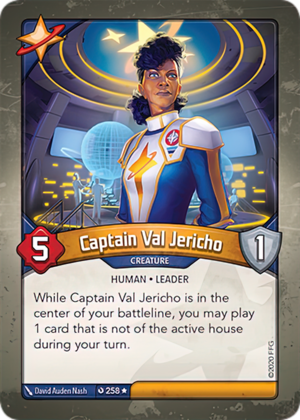 Captain Val Jericho, a KeyForge card illustrated by David Auden Nash