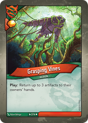 Grasping Vines, a KeyForge card illustrated by Adam Vehige