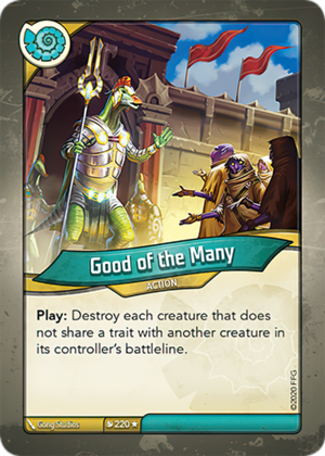 Good of the Many, a KeyForge card illustrated by Gong Studios