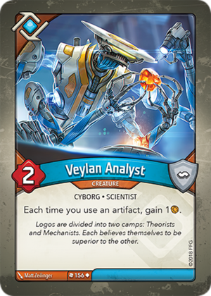 Veylan Analyst, a KeyForge card illustrated by Matt Zeilinger