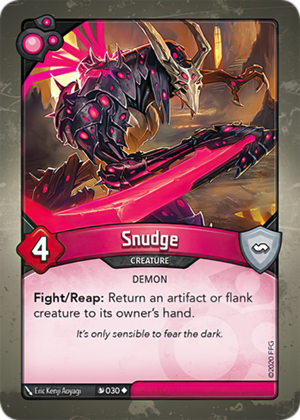 Snudge, a KeyForge card illustrated by Eric Kenji Aoyagi