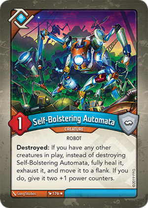 Self-Bolstering Automata, a KeyForge card illustrated by Gong Studios