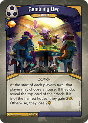 Gambling Den, a KeyForge card illustrated by Marko Fiedler