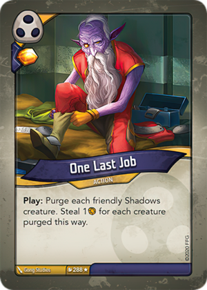 One Last Job, a KeyForge card illustrated by Gong Studios