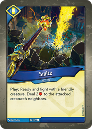 Smite, a KeyForge card illustrated by John Silva