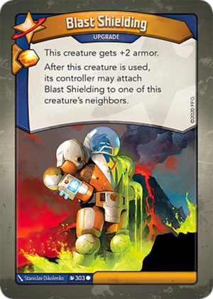 Blast Shielding, a KeyForge card illustrated by Stanislav Dikolenko
