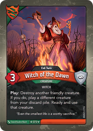 Witch of the Dawn (Evil Twin), a KeyForge card illustrated by David Auden Nash