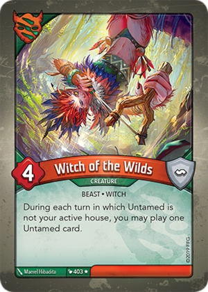 Witch of the Wilds, a KeyForge card illustrated by Maerel Hibadita