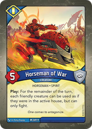 Horseman of War, a KeyForge card illustrated by Eric Kenji Aoyagi