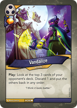 Vandalize, a KeyForge card illustrated by Marco Tamura