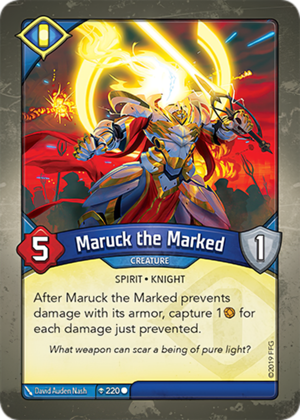 Maruck the Marked, a KeyForge card illustrated by David Auden Nash
