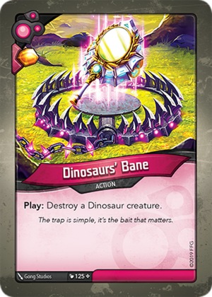 Dinosaurs' Bane, a KeyForge card illustrated by Gong Studios