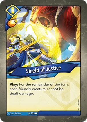 Shield of Justice, a KeyForge card illustrated by Gong Studios