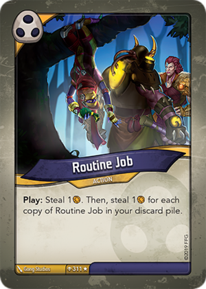 Routine Job, a KeyForge card illustrated by Gong Studios