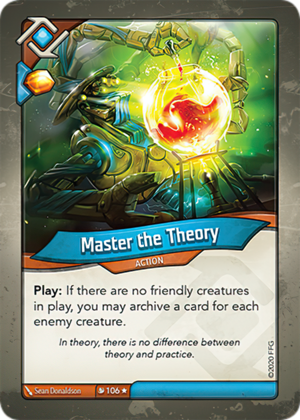Master the Theory, a KeyForge card illustrated by Sean Donaldson