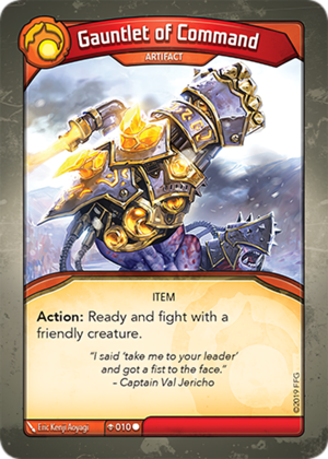 Gauntlet of Command, a KeyForge card illustrated by Eric Kenji Aoyagi