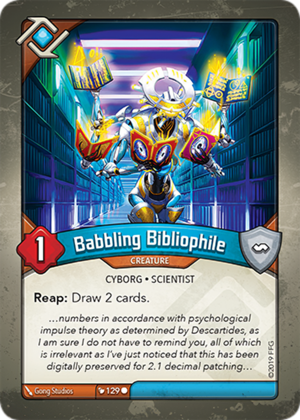 Babbling Bibliophile, a KeyForge card illustrated by Gong Studios