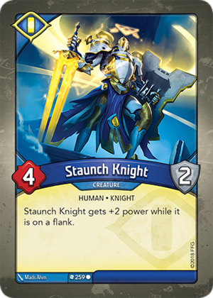 Staunch Knight, a KeyForge card illustrated by Mads Ahm