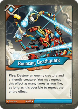 Bouncing Deathquark, a KeyForge card illustrated by Jason Juta