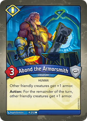 Abond the Armorsmith, a KeyForge card illustrated by Ângelo Bortolini