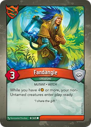 Fandangle, a KeyForge card illustrated by Konstantin Porubov