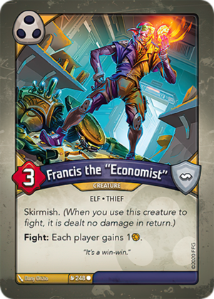 "Francis the ""Economist"", a KeyForge card illustrated by Dany Orizio"