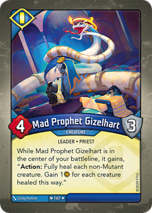 Mad Prophet Gizelhart, a KeyForge card illustrated by Cindy Avelino