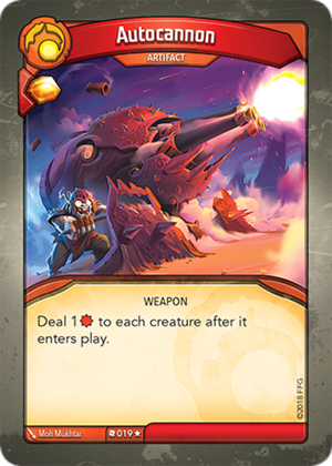 Autocannon, a KeyForge card illustrated by Mo Mukhtar
