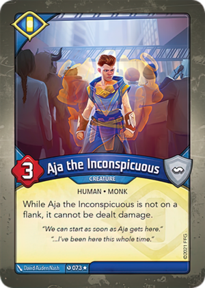 Aja the Inconspicuous, a KeyForge card illustrated by David Auden Nash