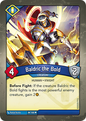 Baldric the Bold, a KeyForge card illustrated by Radial Studio