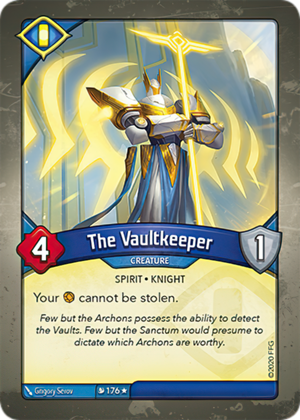 The Vaultkeeper, a KeyForge card illustrated by Grigory Serov