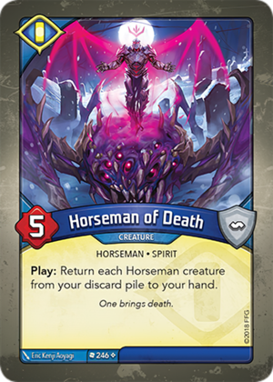 Horseman of Death, a KeyForge card illustrated by Eric Kenji Aoyagi