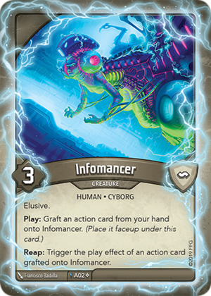 Infomancer, a KeyForge card illustrated by Francisco Badilla
