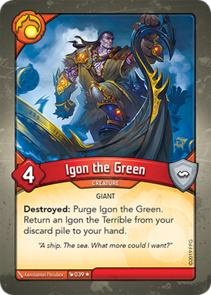 Igon the Green, a KeyForge card illustrated by Konstantin Porubov