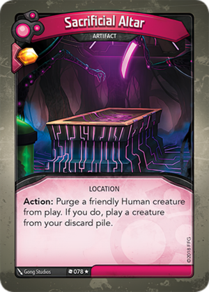 Sacrificial Altar, a KeyForge card illustrated by Gong Studios