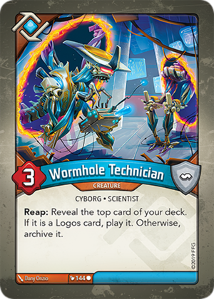 Wormhole Technician, a KeyForge card illustrated by Dany Orizio