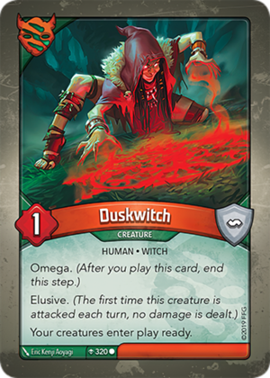 Duskwitch, a KeyForge card illustrated by Eric Kenji Aoyagi