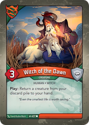 Witch of the Dawn, a KeyForge card illustrated by David Auden Nash