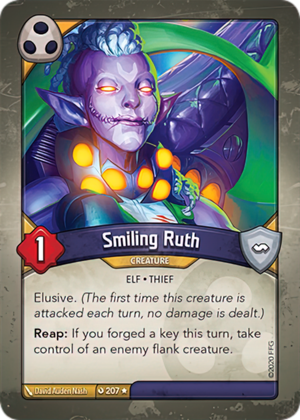 Smiling Ruth, a KeyForge card illustrated by David Auden Nash