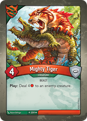 Mighty Tiger, a KeyForge card illustrated by Adam Vehige
